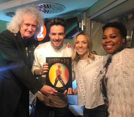 Brian @ChrisEvans with Cheryl Crow, Liam Payne and Amber Riley